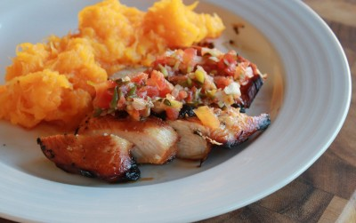 Grilled Teryaki Chicken with Smashed Butternut Squash